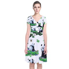 Cute Panda Cartoon Short Sleeve Front Wrap Dress