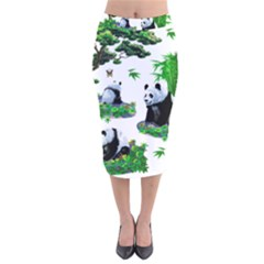 Cute Panda Cartoon Velvet Midi Pencil Skirt by Simbadda