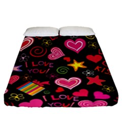 Love Hearts Sweet Vector Fitted Sheet (queen Size) by Simbadda