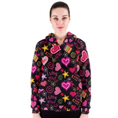 Love Hearts Sweet Vector Women s Zipper Hoodie by Simbadda