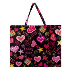 Love Hearts Sweet Vector Zipper Large Tote Bag by Simbadda
