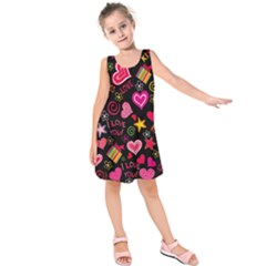 Love Hearts Sweet Vector Kids  Sleeveless Dress by Simbadda