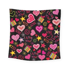 Love Hearts Sweet Vector Square Tapestry (small) by Simbadda