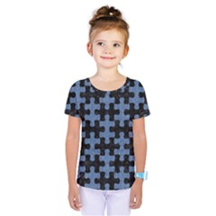 Puzzle1 Black Marble & Blue Denim Kids  One Piece Tee