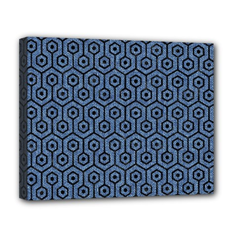Hexagon1 Black Marble & Blue Denim (r) Deluxe Canvas 20  X 16  (stretched) by trendistuff