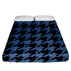 Houndstooth2 Black Marble & Blue Denim Fitted Sheet (queen Size) by trendistuff
