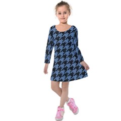 Houndstooth2 Black Marble & Blue Denim Kids  Long Sleeve Velvet Dress