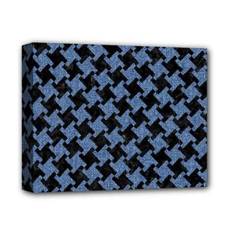 Houndstooth1 Black Marble & Blue Denim Deluxe Canvas 14  X 11  (stretched) by trendistuff