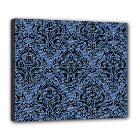 Damask1 Black Marble & Blue Denim (r) Deluxe Canvas 24  X 20  (stretched) by trendistuff