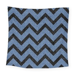 Chevron9 Black Marble & Blue Denim (r) Square Tapestry (large) by trendistuff
