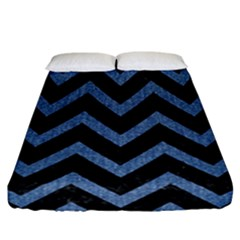 Chevron9 Black Marble & Blue Denim Fitted Sheet (california King Size) by trendistuff