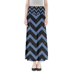 Chevron9 Black Marble & Blue Denim Full Length Maxi Skirt