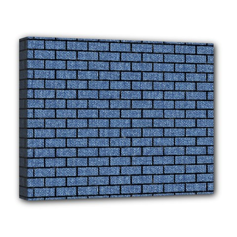 Brick1 Black Marble & Blue Denim (r) Deluxe Canvas 20  X 16  (stretched) by trendistuff