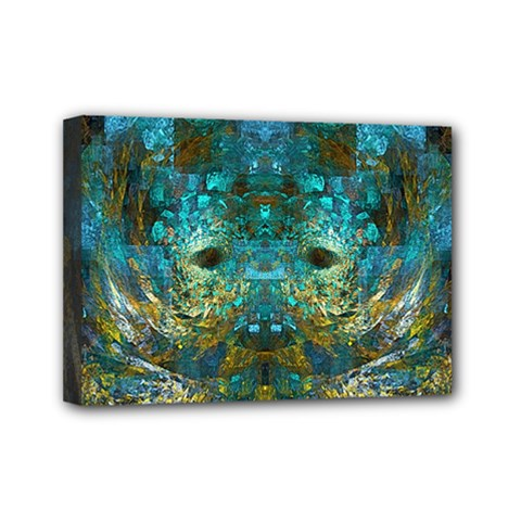 Blue Gold Modern Abstract Geometric Mini Canvas 7  X 5  by CrypticFragmentsColors