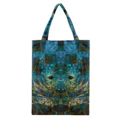 Blue Gold Modern Abstract Geometric Classic Tote Bag by CrypticFragmentsColors