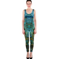 Blue Gold Modern Abstract Geometric Onepiece Catsuit by CrypticFragmentsColors