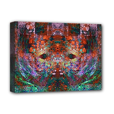 Modern Abstract Geometric Art Rainbow Colors Deluxe Canvas 16  X 12   by CrypticFragmentsColors