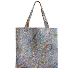 Paisley Boho Hippie Retro Fashion Print Pattern  Zipper Grocery Tote Bag by CrypticFragmentsColors