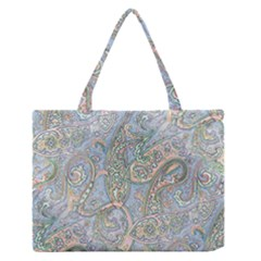 Paisley Boho Hippie Retro Fashion Print Pattern  Medium Zipper Tote Bag by CrypticFragmentsColors