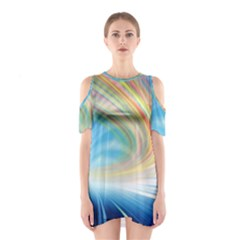 Glow Motion Lines Light Shoulder Cutout One Piece
