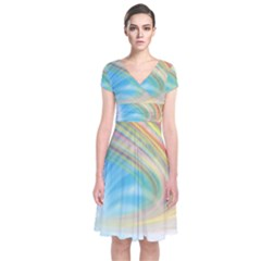 Glow Motion Lines Light Short Sleeve Front Wrap Dress