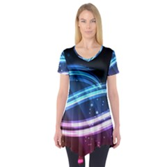 Illustrations Color Purple Blue Circle Space Short Sleeve Tunic  by Alisyart