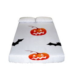 Halloween Seamless Pumpkin Bat Orange Black Sinister Fitted Sheet (full/ Double Size)