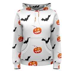 Halloween Seamless Pumpkin Bat Orange Black Sinister Women s Pullover Hoodie