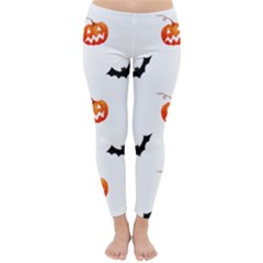 Halloween Seamless Pumpkin Bat Orange Black Sinister Classic Winter Leggings