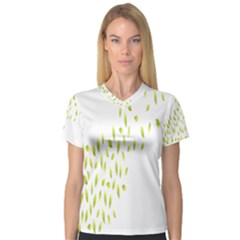 Leaves Leaf Green Fly Landing Women s V Neck Sport Mesh Tee by Alisyart