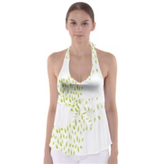 Leaves Leaf Green Fly Landing Babydoll Tankini Top