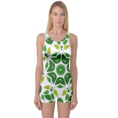 Leaf Green Frame Star One Piece Boyleg Swimsuit