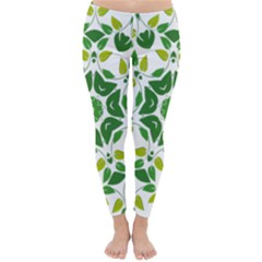 Leaf Green Frame Star Classic Winter Leggings