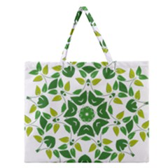 Leaf Green Frame Star Zipper Large Tote Bag by Alisyart