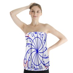 Line  Red Blue Circle Strapless Top