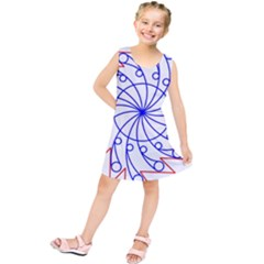 Line  Red Blue Circle Kids  Tunic Dress