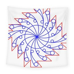 Line  Red Blue Circle Square Tapestry (large)