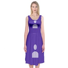 Man Grey Purple Sign Midi Sleeveless Dress by Alisyart