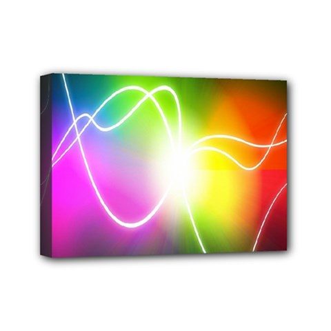 Lines Wavy Ight Color Rainbow Colorful Mini Canvas 7  X 5