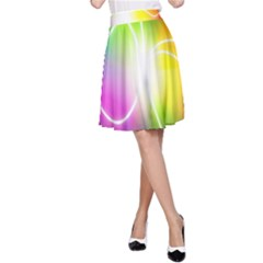 Lines Wavy Ight Color Rainbow Colorful A Line Skirt