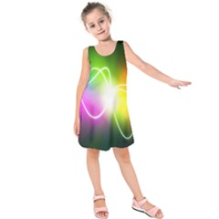 Lines Wavy Ight Color Rainbow Colorful Kids  Sleeveless Dress