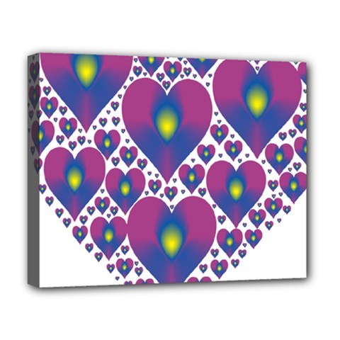 Heart Love Valentine Purple Gold Deluxe Canvas 20  X 16   by Alisyart