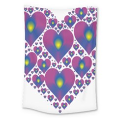 Heart Love Valentine Purple Gold Large Tapestry