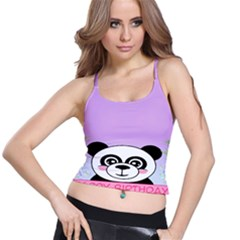 Panda Happy Birthday Pink Face Smile Animals Flower Purple Green Spaghetti Strap Bra Top by Alisyart
