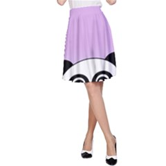 Panda Happy Birthday Pink Face Smile Animals Flower Purple Green A Line Skirt