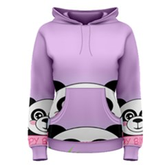 Panda Happy Birthday Pink Face Smile Animals Flower Purple Green Women s Pullover Hoodie