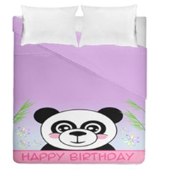 Panda Happy Birthday Pink Face Smile Animals Flower Purple Green Duvet Cover Double Side (queen Size)