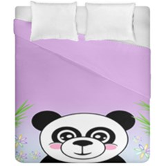 Panda Happy Birthday Pink Face Smile Animals Flower Purple Green Duvet Cover Double Side (california King Size)