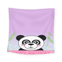 Panda Happy Birthday Pink Face Smile Animals Flower Purple Green Square Tapestry (small)