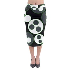 Origami Leaf Sea Dragon Circle Line Green Grey Black Midi Pencil Skirt